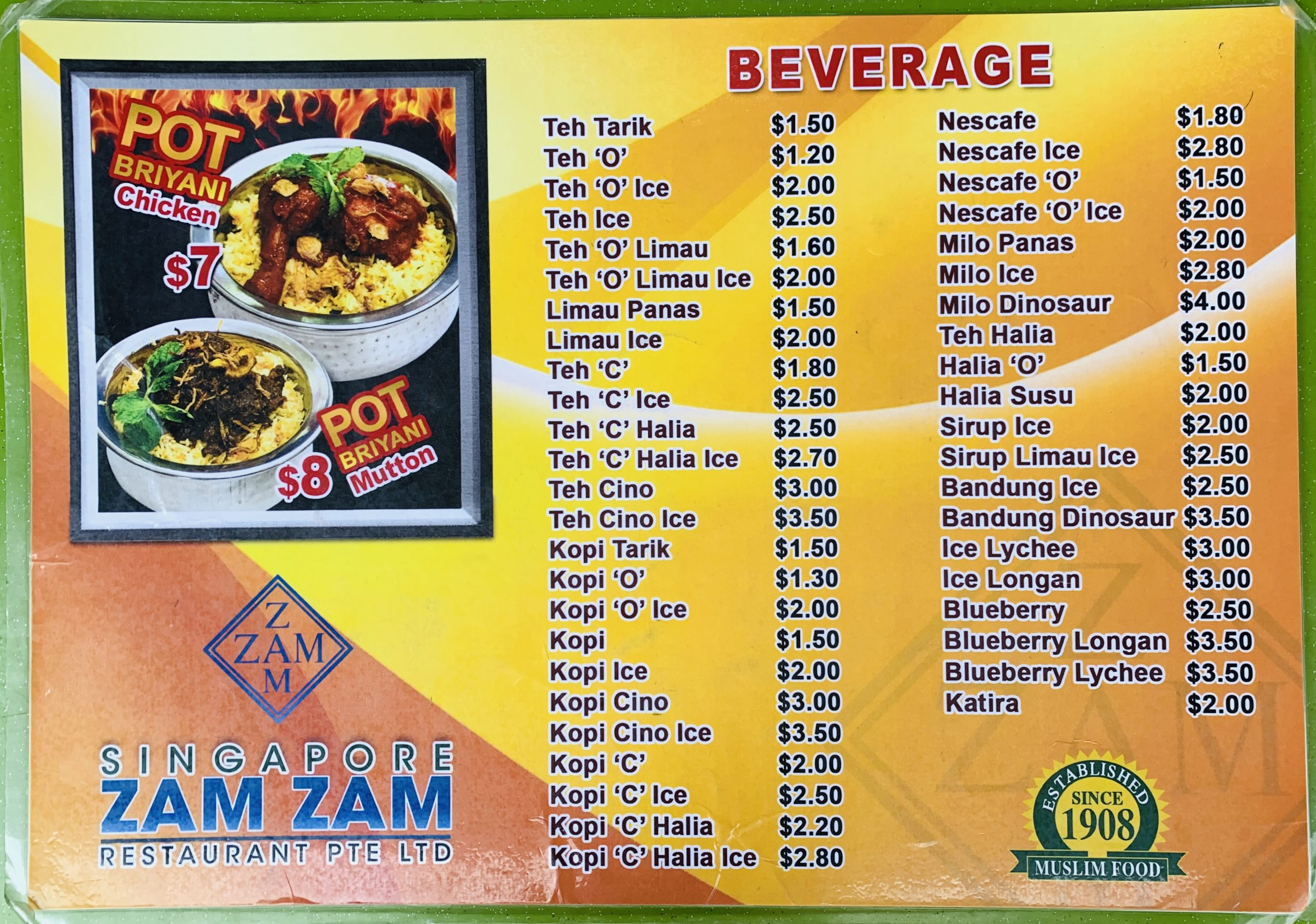 Singapore Zam Zam - Drinks Menu