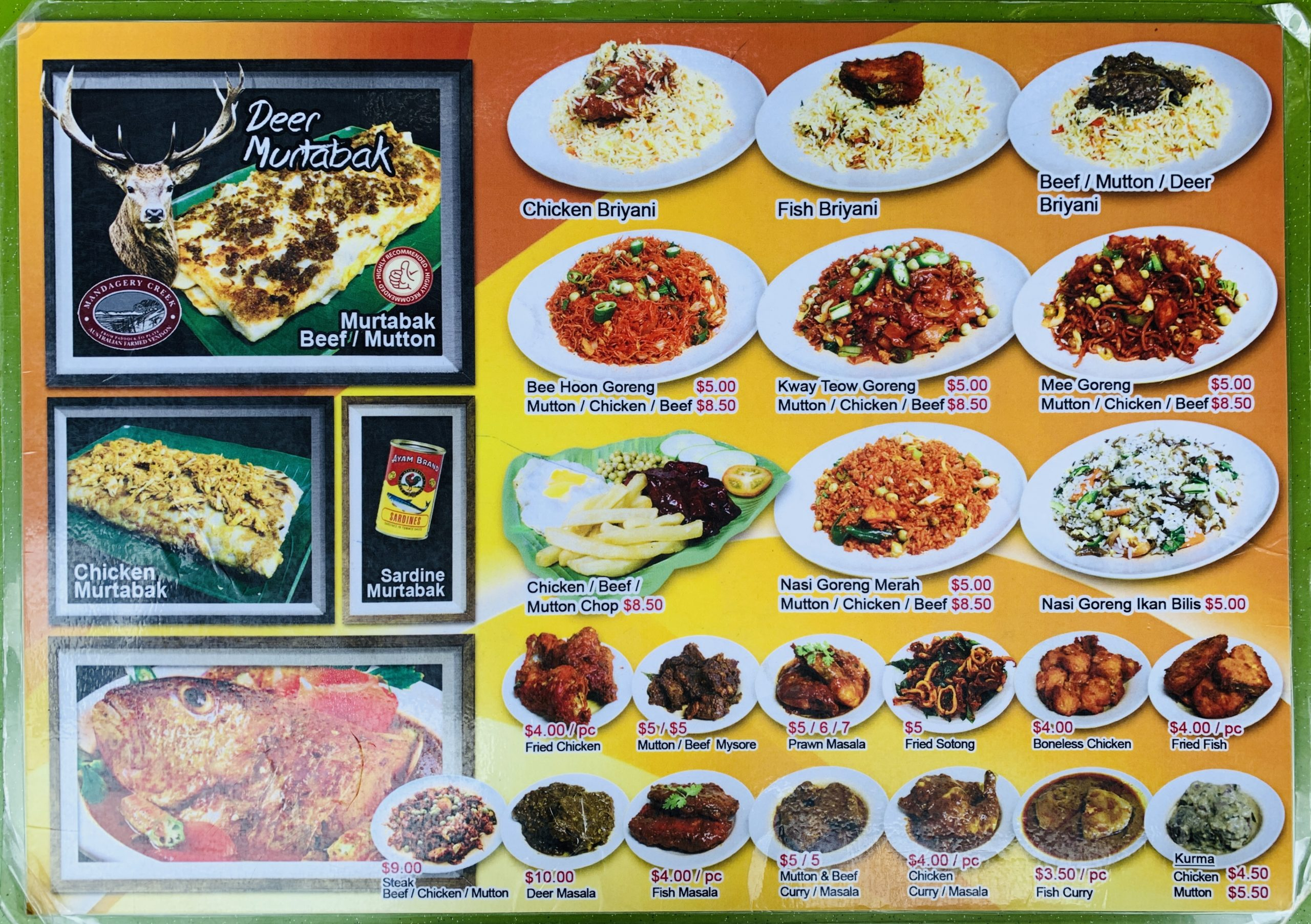 Singapore Zam Zam - Food Menu