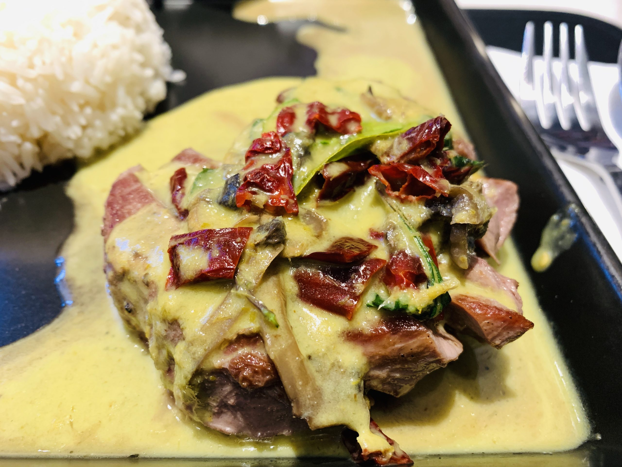Greyhound Cafe - Tenderloin Steak with Green Curry Sauce and Rice