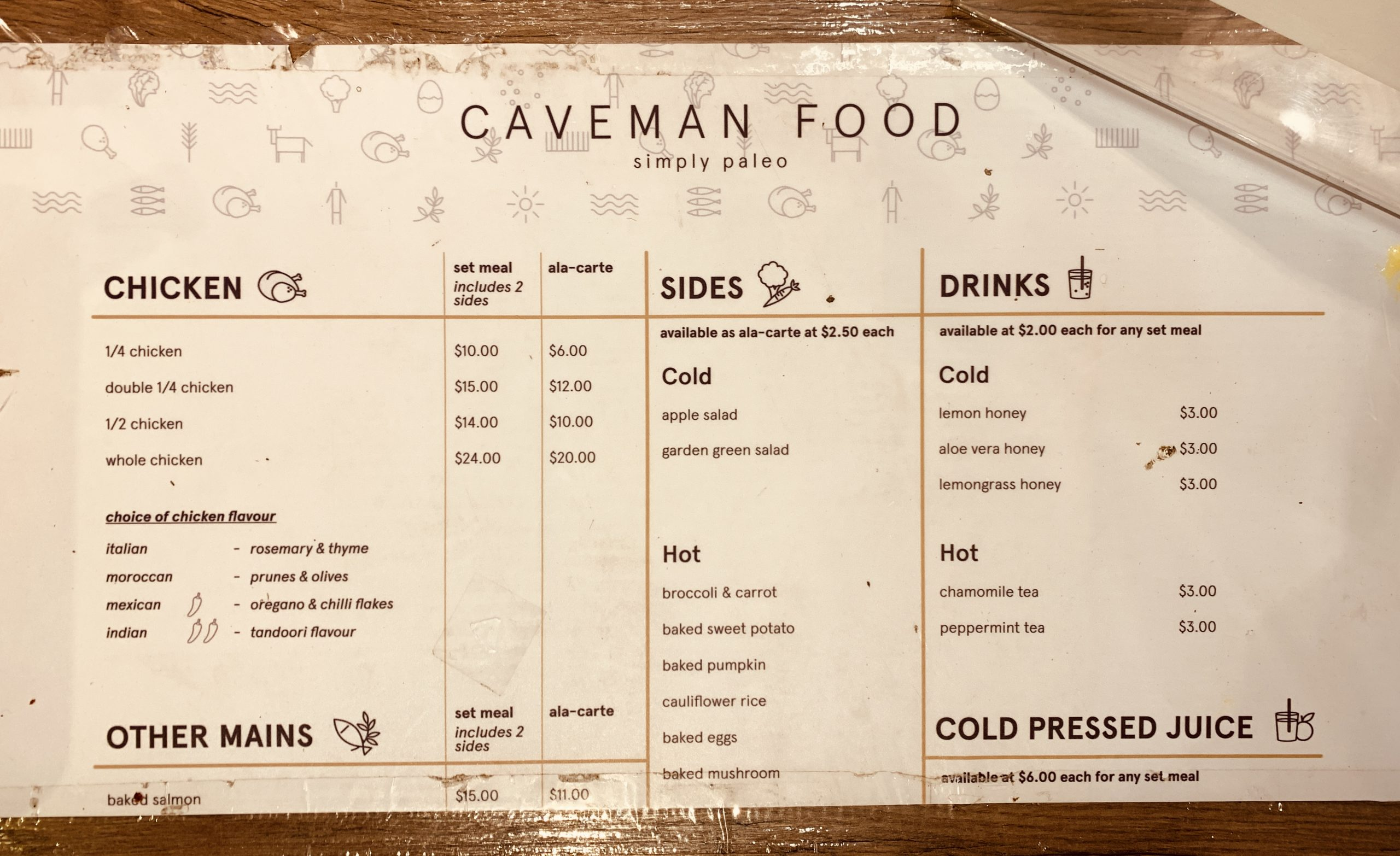 Caveman Food - Menu
