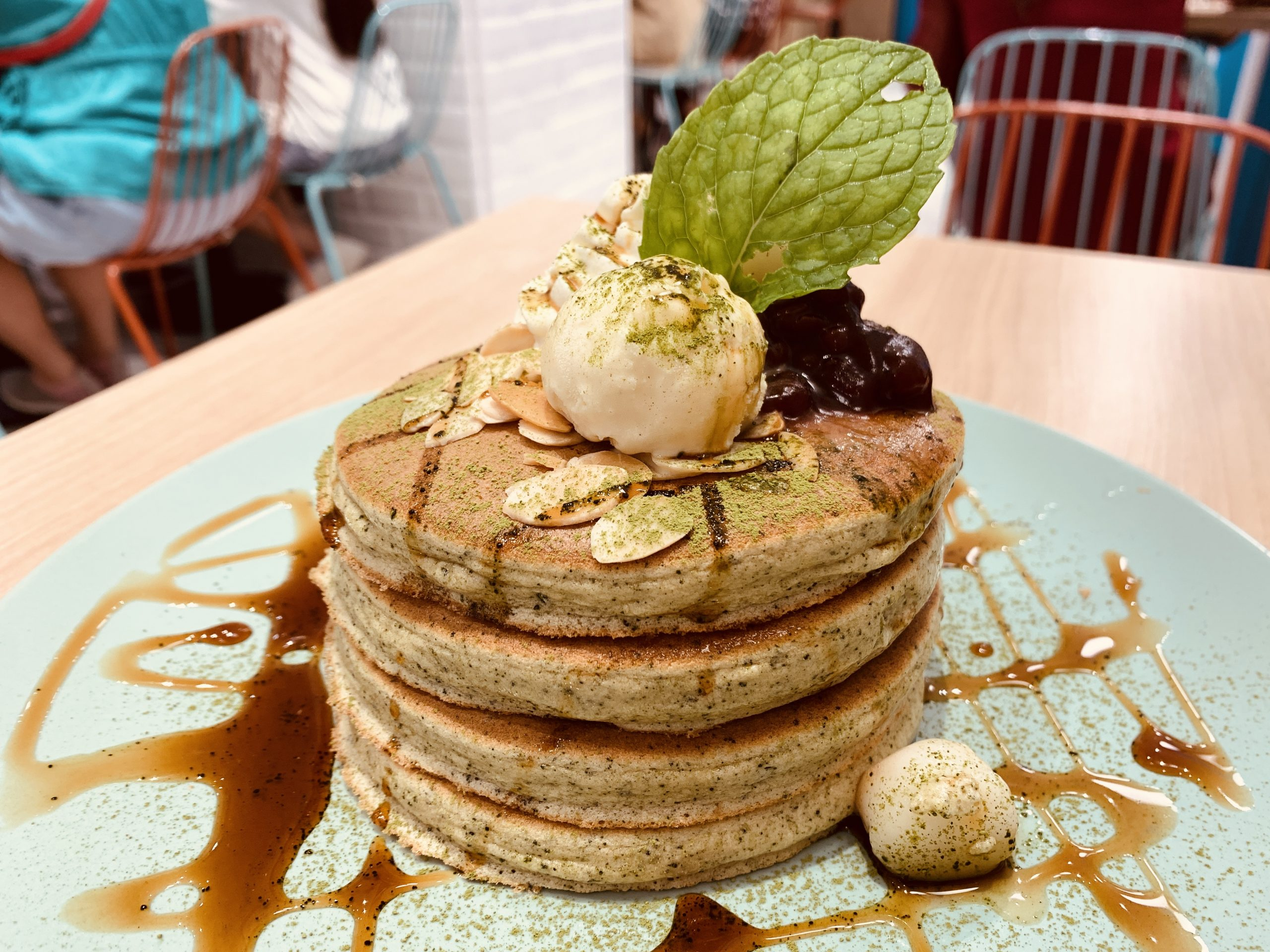Belle-Ville Pancake Cafe - Matcha with Rice Ball and Red Bean Pancake
