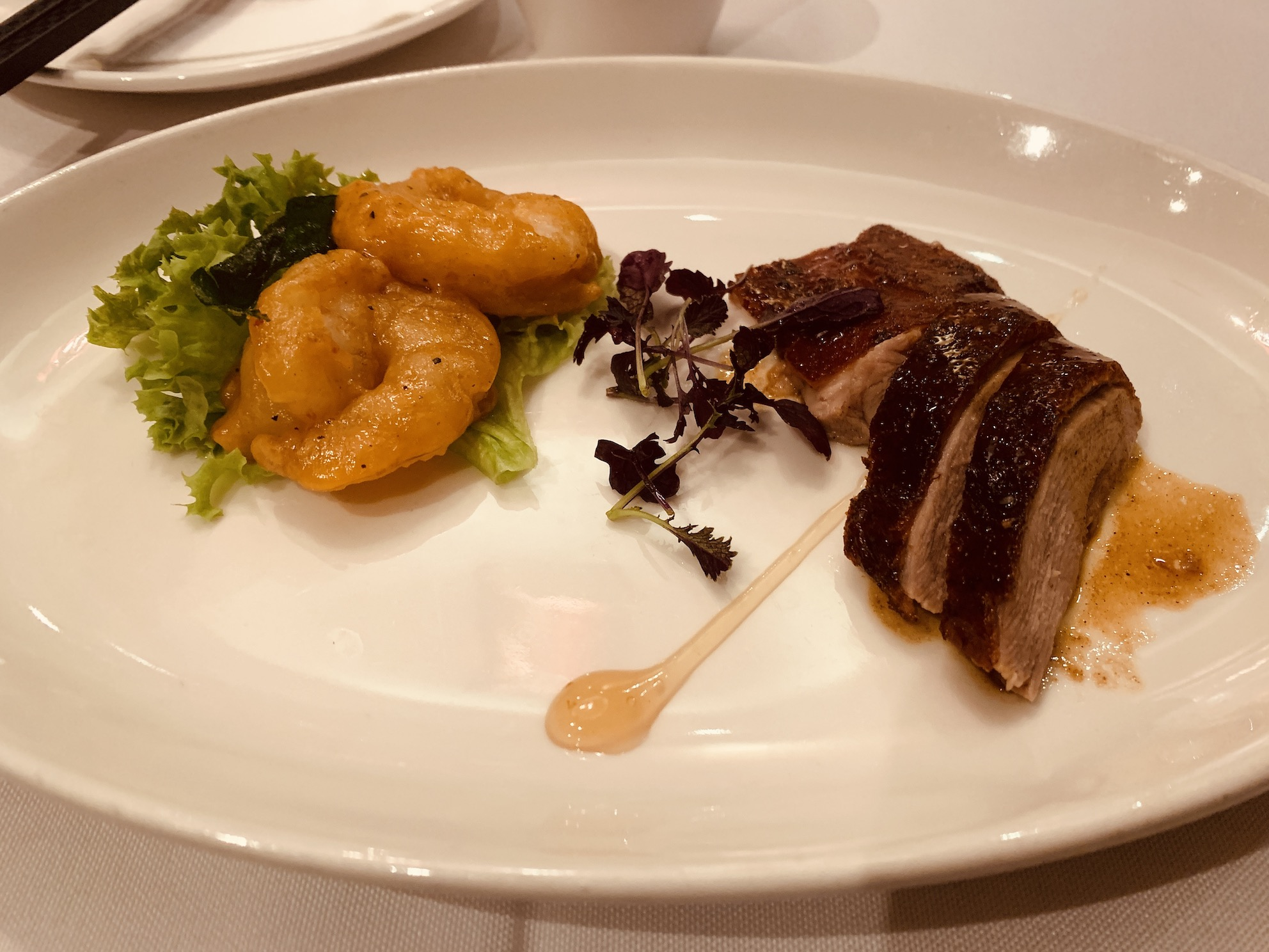 Peach Garden (Chinatown Point) - Roasted Crispy Duck accompanied with Fried Prawn and Mongolian Sauce